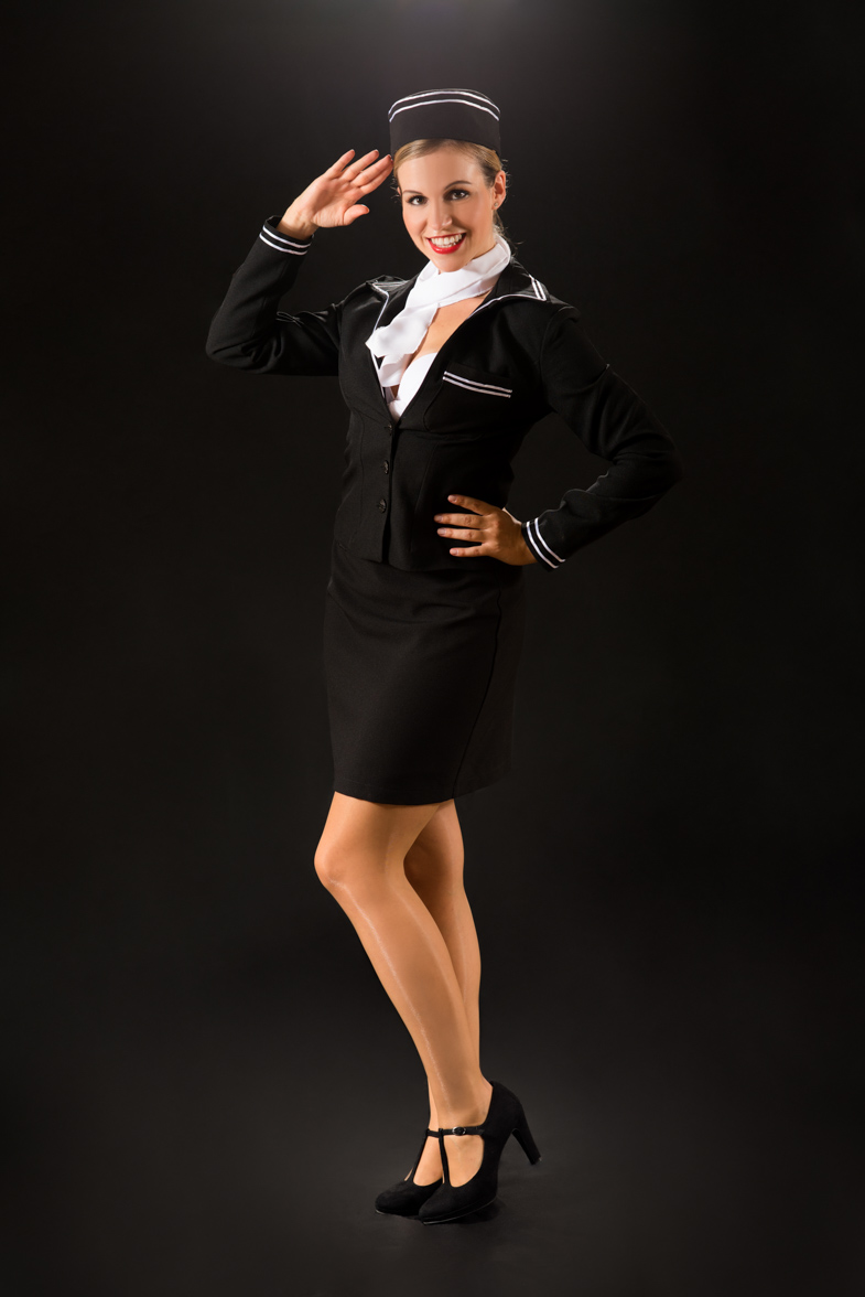 Promotional portrait of an actress playing a flight attendant.